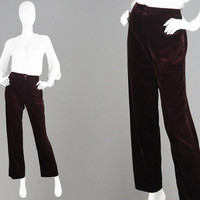 Vintage 70s Velvet Pants Women Jacques Vert 1970s Velvet Trousers Straight Leg Pants High Waist Pants Boho Evening Pants Party Trousers
