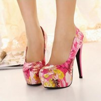 Stylish Womens Floral Print PU Leather High Heels Stilettos Pump Court Shoes 1nS