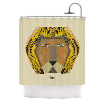 "Bri Buckley ""Lion"" Yellow Orange Shower Curtain"