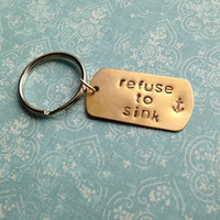 Custom Hand Stamped Brass or Copper Dog Tag Keychain- Pick Your Phrase and Font