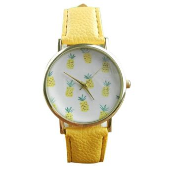 Watch Women Watches Pineapple Pattern PU Leather Dress Clock Analog Quartz Wrist Watch Relogio Feminino