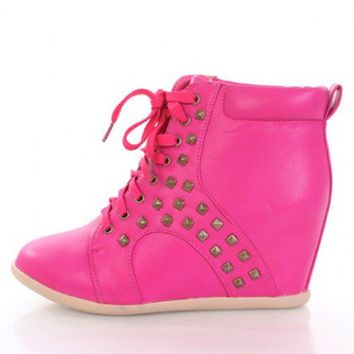 Fuchsia Faux Leather Lace Up Pyramid Studded Sneaker Wedges @ Amiclubwear Wedges Shoes Store:Wedge Shoes,Wedge Boots,Wedge Heels,Wedge Sandals,Dress Shoes,Summer Shoes,Spring Shoes,Prom Shoes,Women's Wedge Shoes,Wedge Platforms Shoes,floral wedges,Fashion