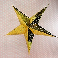 Just Artifacts - Star Shaped Paper Lantern/Lamp Hanging Decoration - (Set of 5, 24inch, Gold)