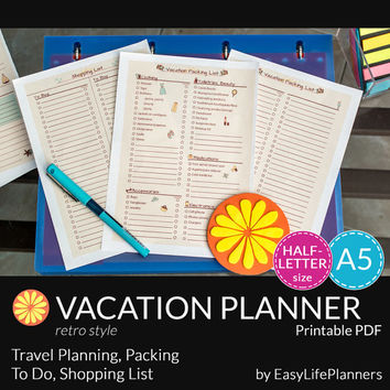 VACATION PLANNER RETRO A5. Half Letter Size. Packing Checklist. Shopping List Printable pdf. Travel organizer. 5 documents. Instant Download