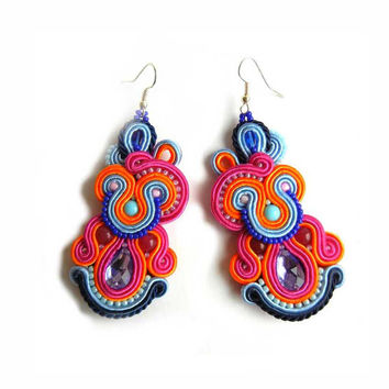 CHRISTMAS SALE 30%, Soutache Earrings, Handmade Jewelry, Colorful Earrings, Statement Jewelry, Long Earrings, Rainbow, Pink Blue,