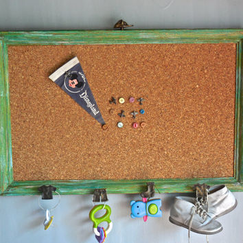 Unique Playroom Cork Board Rack and Push Pin Set/UpCycled WoodFrame/Vintage Button PushPins/Distress Painted Turquoise Aqua Yellow Gold