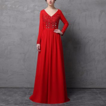 Long Sleeve Mother of the Bride Dress V Neck A line Chiffon Sequin Beaded Pleated Floor Long Formal Mother Dress
