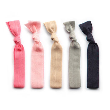 pink & neutral hair ties