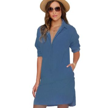 Casual Turn-down Long Sleeve Asymmetric Distressed Single-breasted Side Slit Loose with Pocket Denim Dress for Women