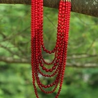 Cascading Beauty Necklace in Red
