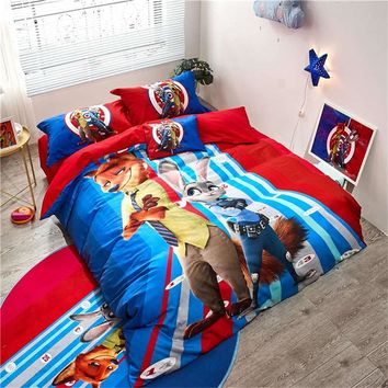 boy's cartoon bedding set single twin queen size disney comforter cover flat sheet pillowcases 3/4/5 piece teen gift bed linens