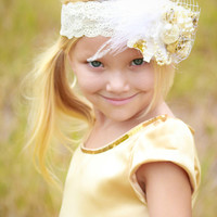 Ivory -Gold Bridal Accessory , ChildrensCandyKC , Baby Girl  Headband Flower, Children's Candy Kids Clothing , Lace Headbands
