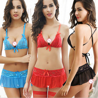 Sexy Bra with Mini Skirt Lingeries 2 piece sets Women's