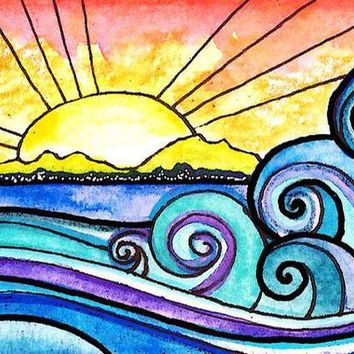 5D Diamond painting Stained Glass Waves and Sun Kit