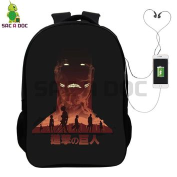 Cool Attack on Titan Anime  Eren Levi Backpack Multifunction USB Charging Headphone Jack School Bags for Teenagers Casual Travel Bags AT_90_11