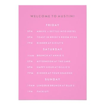 The Bachelorette Party Itinerary Card