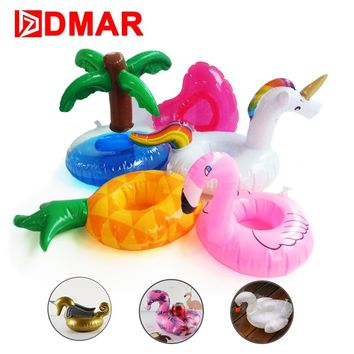 DMAR Mini Inflatable Flamingo Unicorn Donut Pool Float Toys Drink Floats Cups Holder Swimming Ring Party Toys Beach Kids Adults
