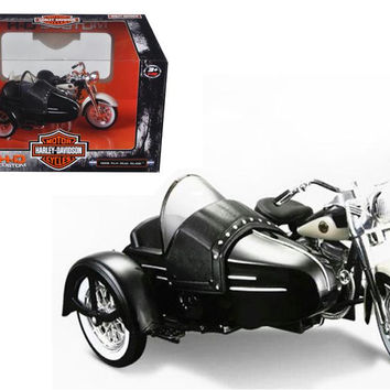 1958 Harley Davidson FLH DUO Glide with Side Car Black with White Motorcycle Model 1-18 Diecast Model by Maisto