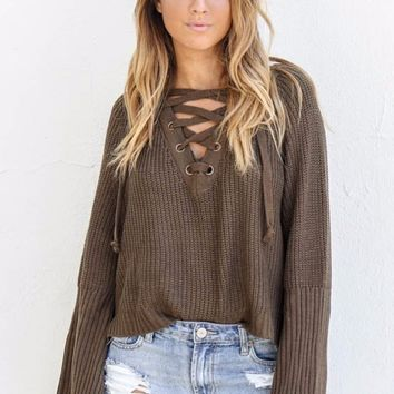 How We Do Lace Up Sweater