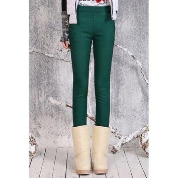 Stylish Solid Color Slimming Stretchy Leggings For Women
