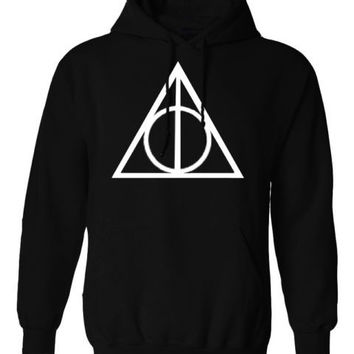 Harry Potter Triangle INSPIRED Deathly hallow PRINTED TOP HOODIE PULLOVER JUMPER - BLACK