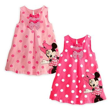 Baby Girl Summer Dress Girls Cute Minnie Mouse Pink Red Dresses Girl's Casual Dress New Fashion 2017 10C