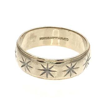 Mens 14k Gold Wedding Band Ring with Carved Starbursts, Vintage, 1930s to 1980s