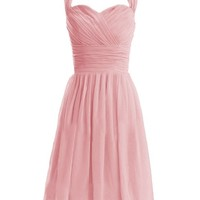 Diyouth Short Halter Bridesmaid Dresses Sweetheart Formal Party Gowns Backless Blush Size 10