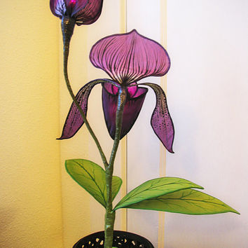 Lady Slipper Orchid Silk Sculpture Lamp