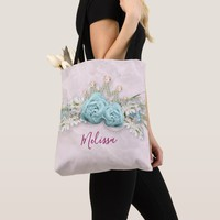 Blue Roses and Crown Floral Bouquet Personalized Tote Bag