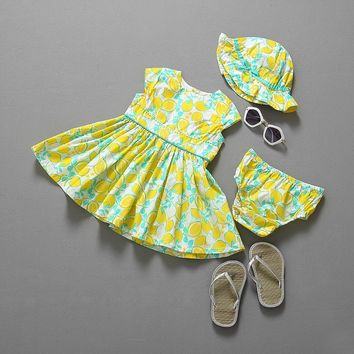 Summer style baby clothing set dress+shorts+ free summer hat  and girls clothes baby girl clothes