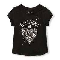 Toddler Girls Active Short Rolled Sleeve Embellished Graphic Top | The Children's Place