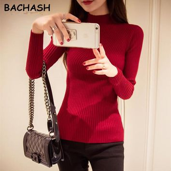 Women Turtleneck Sweater Wool Casual Spring Winter Women Bottoming Slim Warm Knitted Pullovers