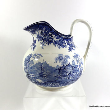 1890s Huge Pitcher Cobalt Blue & White Mintons Genevese from England