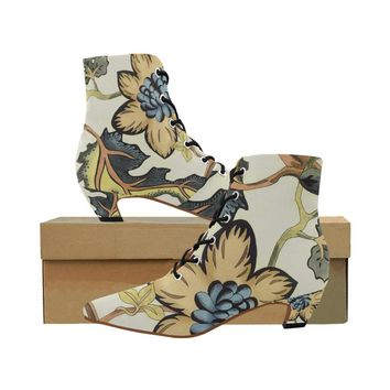 Floral low heel lace up ankle boots