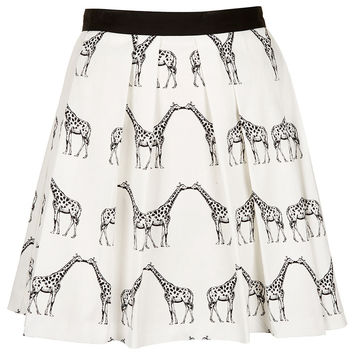 Kissing Giraffe Pleated Skirt - New In - Topshop USA