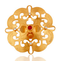Hand-Crafted 18-Karat Yellow Gold Vermeil Brass Cocktail Ring With CZ And Coral