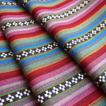 South American Fabric, Peruvian Fabric, Woven, Purple Pampa Stripes, 1 Yard