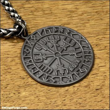 Ancient Artifact Finish Viking Compass Pendant - No Necklace is Included