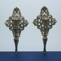Gold ornate metal candlestick sconces, wall decor, gold decor, candle holders, French Provincial decor