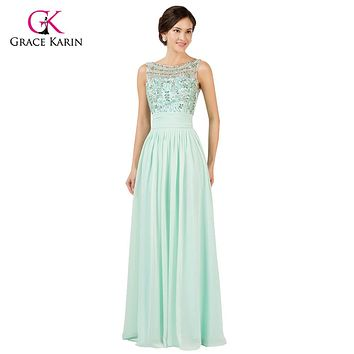 Light Mint Green Long Chiffon Bridesmaid Dresses Under 50 Grace Karin cheap 2017 Prom Dresses, Bridesmaids Wedding Party Dress