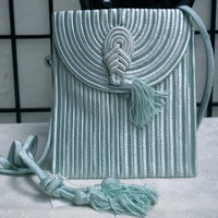 VINTAGE EVENING BAG - pale blue, chorded bag, made in France.  New.