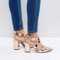 The March Rose Gold Cross Strap Heeled Shoes at asos.com