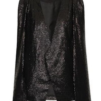 **Black Sequin Cape Blazer by Lavish Alice - Black