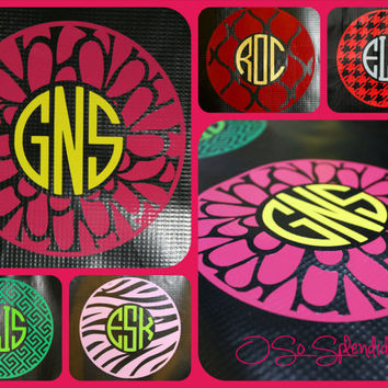"35+ Colors To Choose from - 12"" Custom Circle Monogram Car Decal - Flower Petals Pattern Outer Circle - Personalized Sticker"