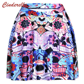 Fashion Sexy Mini Jupe Femme Female Vintage Pattern Skull Skeleton Galaxy Saia Skirt Women Pleated Skirts Casual Punk