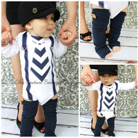 Baby Boy Tie and Suspenders Bodysuit & Leg Warmers SET Navy Blue Chevron Birthday Outfit Cake Smash Winter Wedding Ring Bearer Thanksgiving