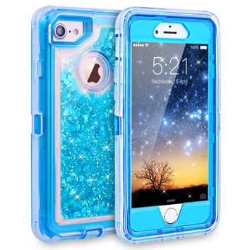 iPhone 7 Case, iPhone 6S Case, Dexnor Glitter 3D Bling Sparkle Flowing Liquid Case Transparent 3 in 1 Shockproof TPU Silicone Core + PC Frame Case Cover for iPhone 7/6s/6 - Blue