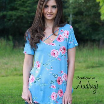 Light Blue and Pink Floral Print Criss Cross Short Sleeve Top