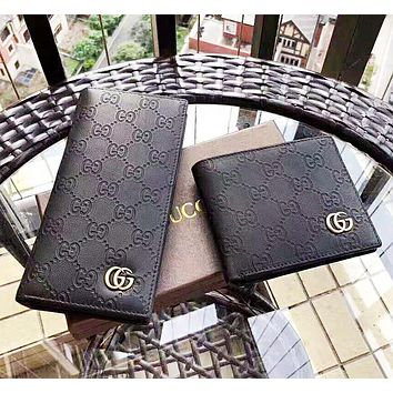 GUCCI Fashion New More Letter Leather High Quality Women Men Clutch Bag Wallet Purse Black
